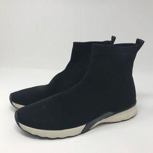 Zara High Top Sock Sneakers Boots Black Size 11
